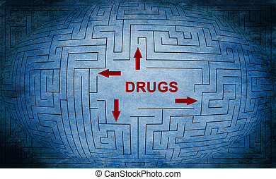 drogas, laberinto, concepto