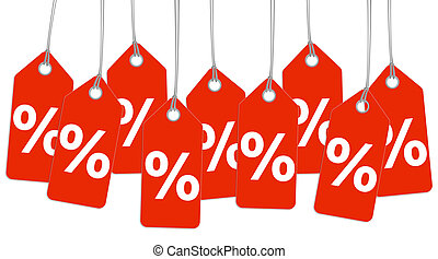red hangtags with % sign