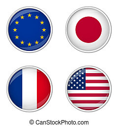 Button collection - Europe, Japan, France, USA