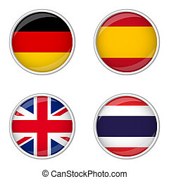 Button Collection - Germany, Spain, Great Britain, Thailand