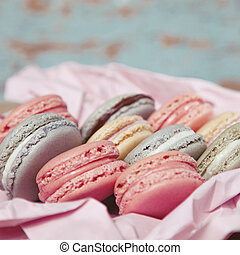 Shabby Chic Background with Macarons
