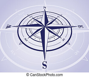 Compass Rose - Compass rose with reflection.
