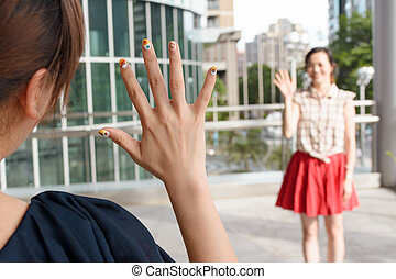 woman meet her friends - Asian woman meet her friends in the...
