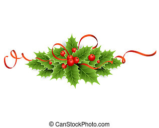 Christmas holly - Vector illustration isolated realistic...