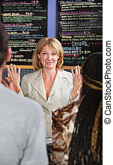 Overwhelmed Cafe Owner - Panicked coffee house owner taking...