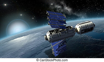 Space lab surveying Earth