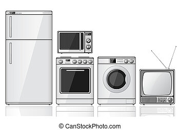 Set of household appliances - Set of realistic household...