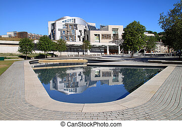 Scottish Parliament, Front View - Front view of the Scottish...