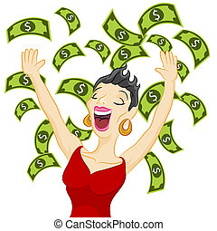 Cash Girl - An image of a girl winning cash