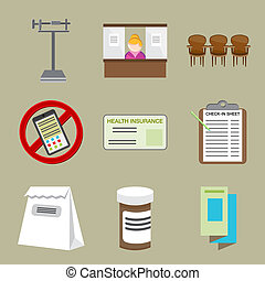 Doctors Office  Icons - An image of doctors office icons.