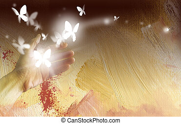 Hand with glowing butterflies - Digital graphic illustration...