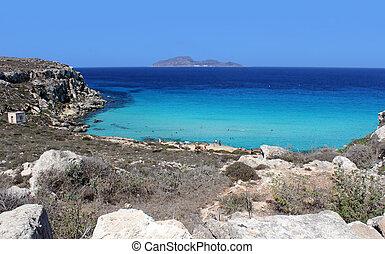 beautiful beach Cala Rossa Favignana, Sicily, Italy