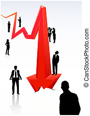 Business Graph - Young business people looking at declining...