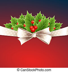 Vector christmas background with ribbon and holly