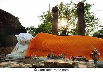 Sleeping Buddha in Wat Yai Chaimongkhon, Ayutthaya; sun...