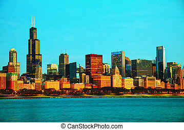 Chicago downtown cityscape in the morning