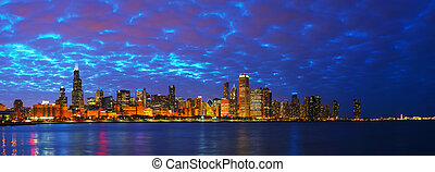Chicago downtown cityscape panorama at sunset