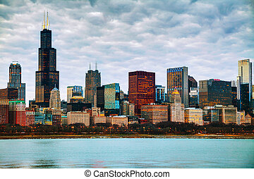 Chicago downtown cityscape in the evening