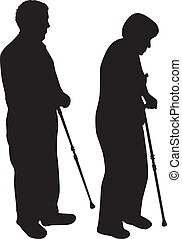 Senior Silhouettes of people
