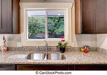 Kitchen cabinet with sink and window view