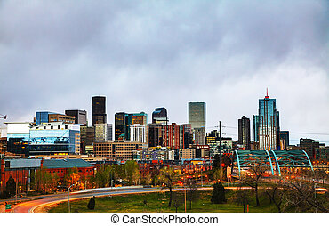 Downtown Denver, Colorado - Downtown Denver cityscape in the...