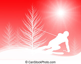 Skiing in the sun - Man skiing on the mountains and in the...