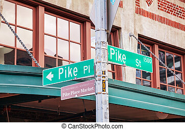 Pike place sign at the famous Public market in Seattle -...