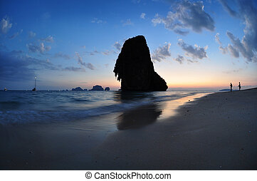 Railay beach, Thailand in blue hour, illuminated fisher...