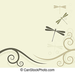 Background with dragonflies with space for text