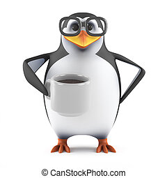 3d Acedemic penguin drinks a nice cup of coffee - 3d render...