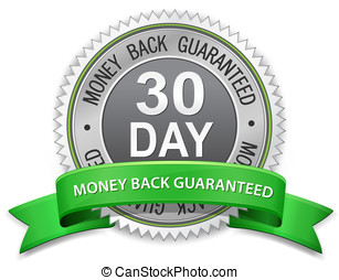 30 day money back guaranteed label. Vector satisfaction...