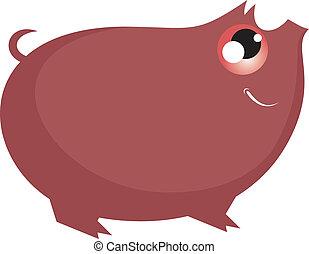 Comic cartoon pig