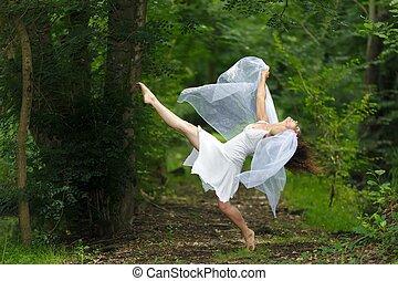 Mystical portrait of a beautiful woman in white - Mystical...