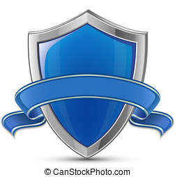 Shield icon - Vector illustration of blue glossy shield with...