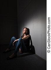 severo, sofrimento, mulher, jovem, depressão