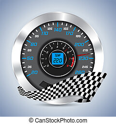Speedometer with rev counter and checkered ribbon