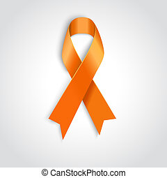 orange ribbon on white background - Vector Orange ribbon as...