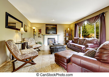 Luxury living room with leather furniture set - Luxury...