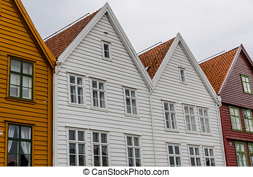 Hanseatic houses - Typical Hanseatic houses in Bryggen,...