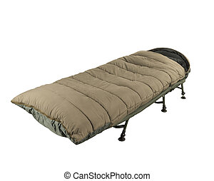 Camp bed with sleeping bag - Green camp bed with sleeping...