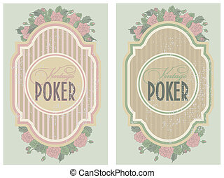 Two vintage poker label, vector illustration