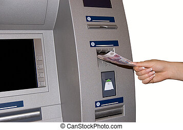 ATM - TM Access - woman withdraw money at cashpoints