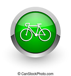 bicycle green glossy web icon - green glossy web icon