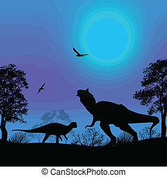 Dinosaurs silhouettes in beautiful landscape - Dinosaurs...
