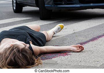 Woman hit by a car - Horizontal view of woman hit by a car