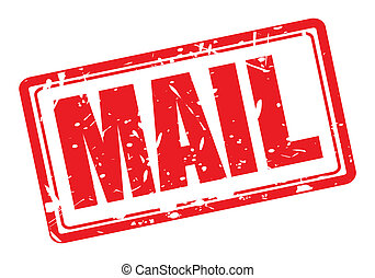 MAIL red stamp text - Mail red stamp text on white