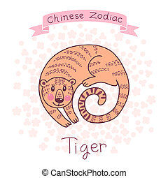 Chinese Zodiac - Tiger Cute horoscope Vector illustration