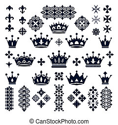 set of crowns and decorative elements vector illustration