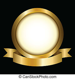 Gold Circle - Illustration of a gold circle with ribbon...