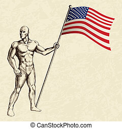 USA Insignia - Sketch illustration of a flag bearer